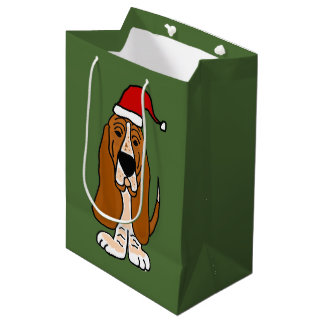 Funny Basset Hound in Santa Hat Christmas Gift Bag