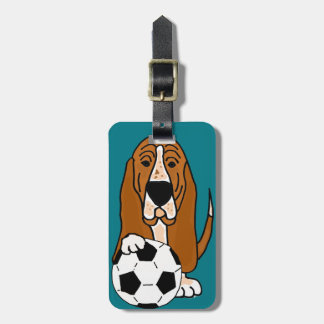 Funny Basset Hound Playing Soccer or Football Luggage Tag