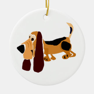 Funny Basset Hound Primitive Art Round Ceramic Decoration