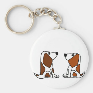Funny Basset Hound Puppy Dogs Cartoon Basic Round Button Key Ring