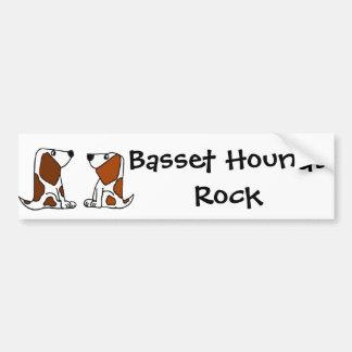 Funny Basset Hound Puppy Dogs Cartoon Bumper Sticker