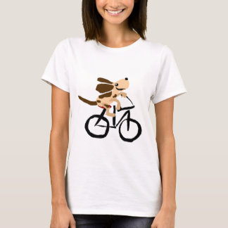 Funny Basset Hound Riding Bicycle T-Shirt