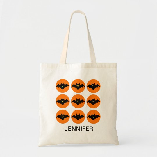 Funny Bats Emojis Pattern Halloween Candy Tote Bag