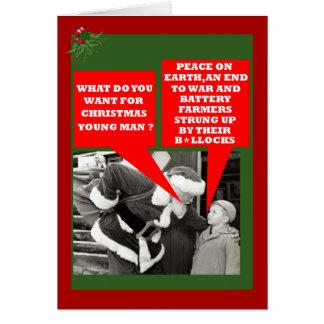 Funny battery hens slogan Xmas Cards