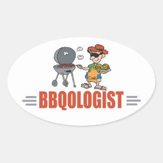 Funny BBQ Oval Sticker