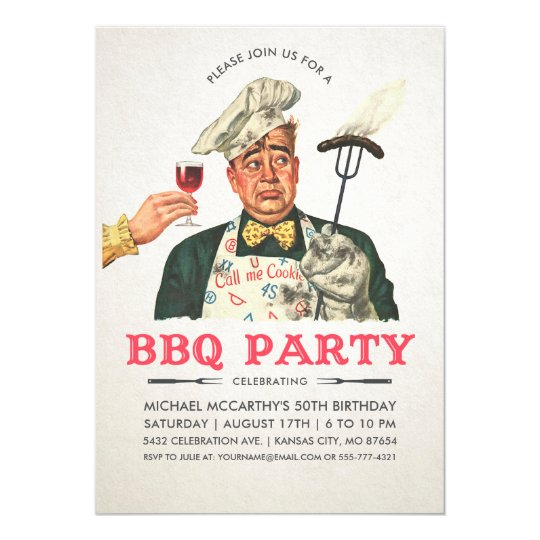 Funny BBQ Party Invitations | Birthday | Vintage