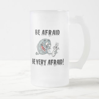Funny Be Afraid Bowling Frosted Glass Mug
