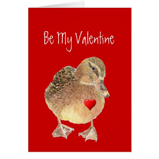 Funny Be My Valentine, Cute Duck Greeting Card