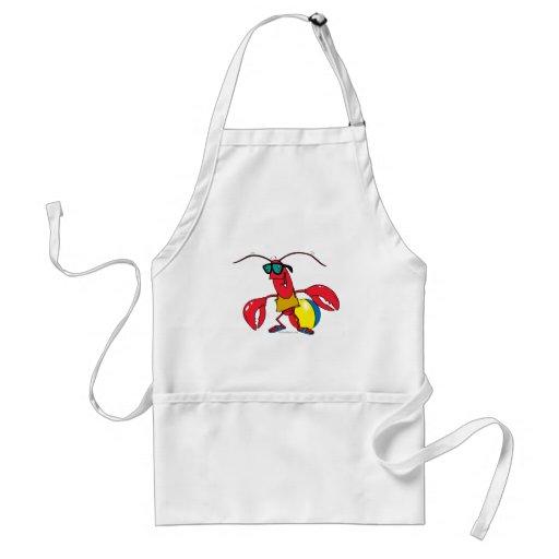 funny beach going  lobster cartoon adult apron