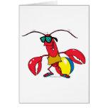 funny beach going  lobster cartoon greeting card