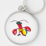 funny beach going  lobster cartoon key chains