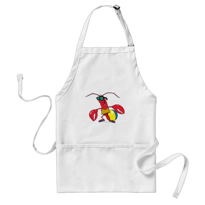 funny beach going  lobster cartoon standard apron
