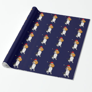 Funny Beagle Dog Wearing Santa Hat Wrapping Paper