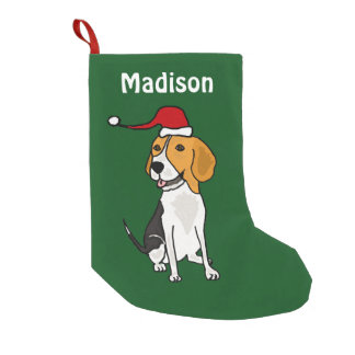 Funny Beagle in Santa Hat Christmas Stocking