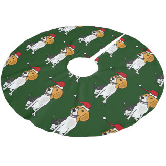 Funny Beagle in Santa Hat Christmas Tree Skirt