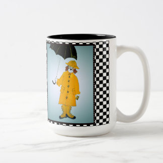 Funny Beagle in the Rain Two-Tone Coffee Mug