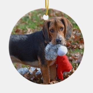 Funny Beagle Pup Took Santa's Hat Christmas Ornament