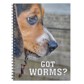 Funny Beagle Puppy Got Worms? Spiral Notebook