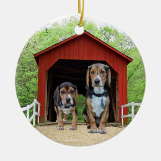 Funny Beagle Pups At The Red Covered Bridge Christmas Ornament