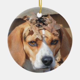 Funny Beagle Wearing Leaves Acorns on Head Round Ceramic Decoration