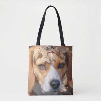 Funny Beagle With Leaves on Head Tote Bag