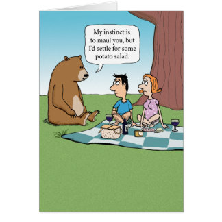 Funny Bear Crashing a Picnic Greeting Card