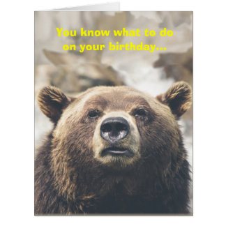 Funny Bear Giant Birthday Card Bear Pun Custom