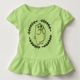Funny Bear Girl Green 4T Toddler T-Shirt