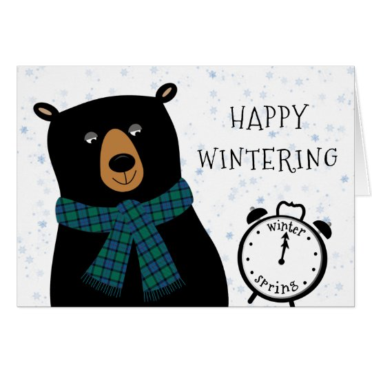 Funny Bear Happy Winter Season Wishes Greeting Card