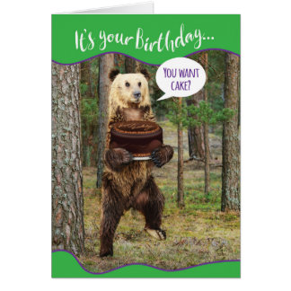Funny Bear in the Woods With Birthday Cake Greeting Card