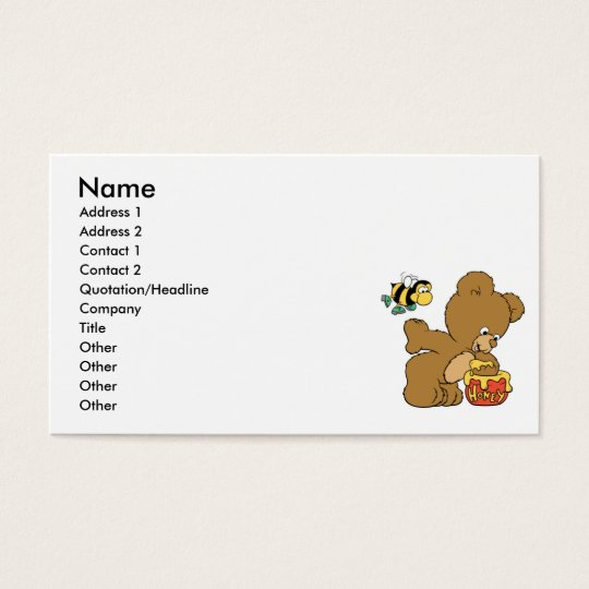 Funny Bear Sneaking Honey Business Card