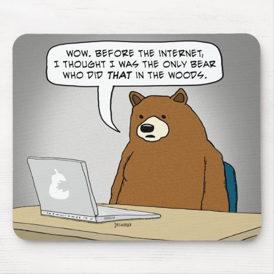 Funny Bear Surfing the Internet Mouse Mat