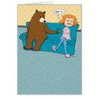 Funny Bear with Pointy Stick Birthday Card
