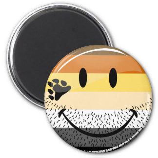 Funny Bearded Happy Gay Bear Pride Flag 6 Cm Round Magnet