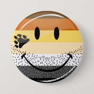 Funny Bearded Happy Gay Bear Pride Flag 7.5 Cm Round Badge
