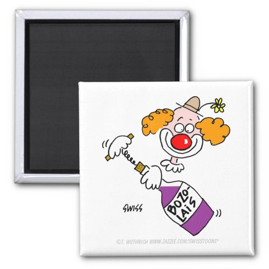 Funny Beaujolais Wine Humour Clown Cartoon Magnet