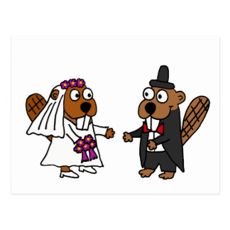 Funny Beaver Bride and Groom Wedding Postcard