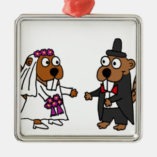 Funny Beaver Bride and Groom Wedding Silver-Colored Square Decoration