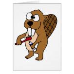 Funny Beaver Brushing Teeth Cartoon Greeting Card