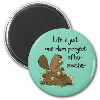 Funny Beaver Do-It-Yourselfer 6 Cm Round Magnet