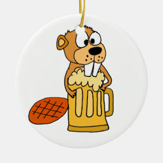 Funny Beaver Drinking Beer Round Ceramic Decoration