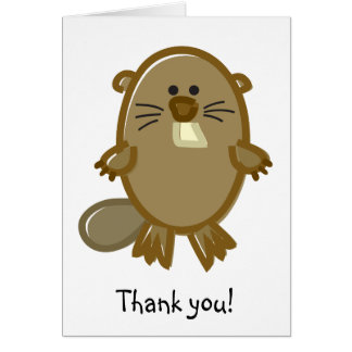 Funny Beaver on White Card
