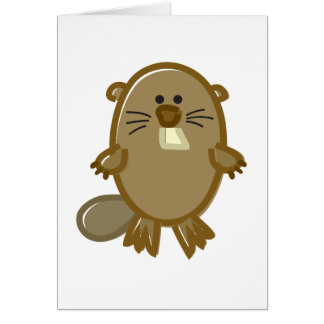 Funny Beaver on White Card