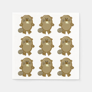 Funny Beaver on White Disposable Napkins