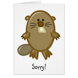 Funny Beaver on White Greeting Card
