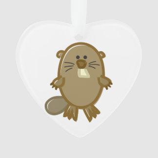 Funny Beaver on White Ornament