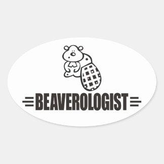 Funny Beaver Oval Sticker