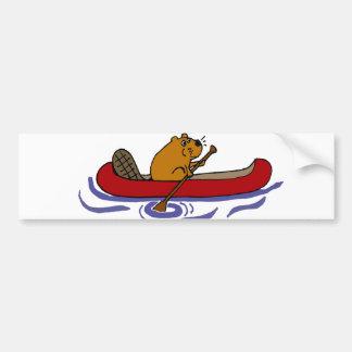 Funny Beaver Rowing in Red Canoe Bumper Sticker