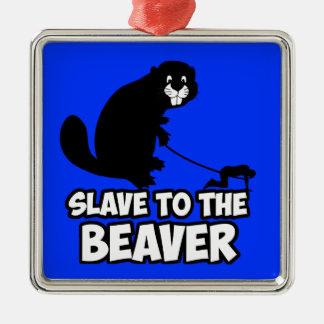 Funny Beaver Silver-Colored Square Decoration