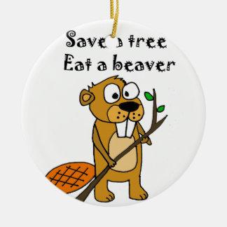 Funny Beaver with Tree Cartoon Round Ceramic Decoration